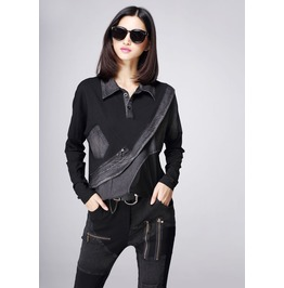 Grungy Womens Biker Top With Diagonal Rip Design