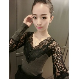 Laced Hollow Out V Neck Long Sleeve Women Blouse