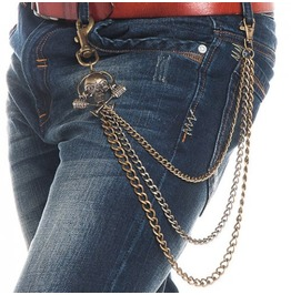 Skull Accent Metal Pant Chain Accessory