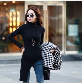 Long Sleeve Turtle Neck Asymmetrical Black Blouse