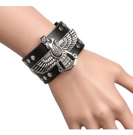 Steampunk Ornate Eagle Wings Rivets Leather Bracelet