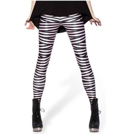 Sexy Black White Striped Tight Leggings V5