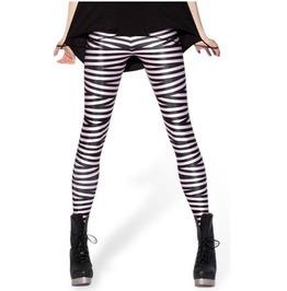 Sexy Black White Striped Tight Leggings V5