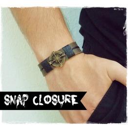 Compass Bracelet, Nautical Leather Bracelet, Traveler's Cuff