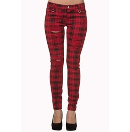 Banned Apparel Move On Up Trousers Red, Black, Purple, And White