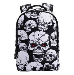 Punk Rocl White Black Skull Printing Unisex Backpack