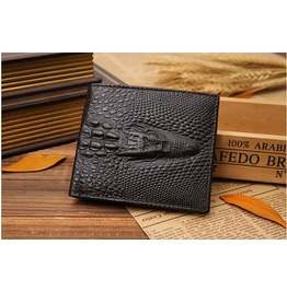 Men's Leather Wallets Crocodile Short Style Wallet
