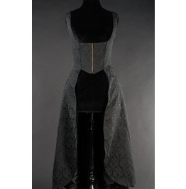 Black Victorian Vampire Brocade Corsetted Underbust Flowy Skirt $9 Shipping