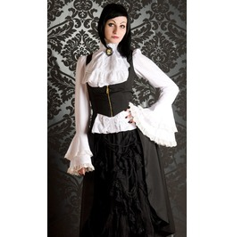 Solid Black Victorian Vampire Corsetted Underbust Flowy Skirt $9 Shipping
