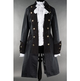 Ladies Solid Black Pirate Jacket Princess Victorian Goth Tail Coat $6 Ship