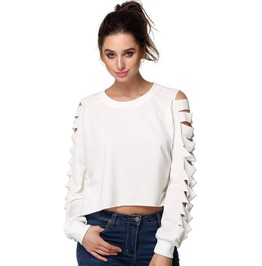 Long Sleeve Blouse With Side Slits Over Arms