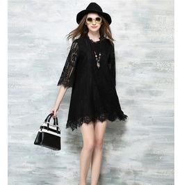 Short Lace Floral Black Dress
