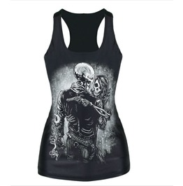 Goth skeleton love tank top tank tops 2