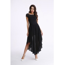 Elegant Tapered Maxi Dress With Shoulder Lace
