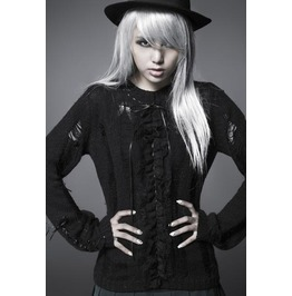 Punk Black Mock Neck Sexy Long Sleeved Sweater For Women