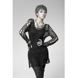 Steampunk Open Weave Long Sleeved Perfect Fitting Sweater For Women