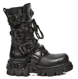 New Rock M391 S18 Reactor Gothic Industrial Cybergoth Metal Buckle Boots