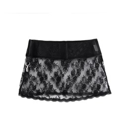 Sexy Steampunk Embellished Floral Like Lace Mini Skirt
