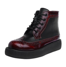 Burgundy Two Tone Wingtip Creeper Boots Thick Sole Shoes Free Us Shipping