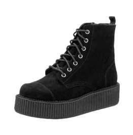 Ladies Black Suede Creeper Military 7 Eye Combat Boots Free Shipping To Us