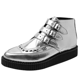 Silver Pointed Toe 3 Buckle Hi Top Creeper Thick Sole Shoe Free Us Shippin G