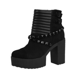 Black Suede Rock Chick Chunky Heel Studded Quilted Boots F Ree Us Shipping