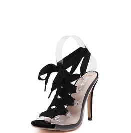 Lucite Peep Toe Lace Up Sandals