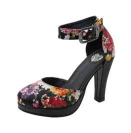 Tuk Vegan Dark Starlet Floral Ankle Strap Retro Heels Free Shipping To Us