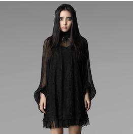 Steampunk Neoclassical Black Lace, Chiffon Blouse For Women
