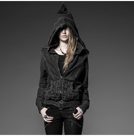 Gray Punkrave Unisex Rock Zip Up Hoodie
