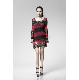 Black And Red Steampunk Open Weave Perfect Fitting Sweater For Women