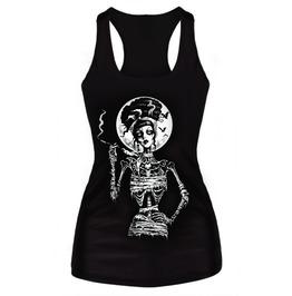 Smoking Skull Printed T Shirt Women Punk Rock