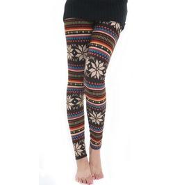 Knit Brown Snowflake Leggings