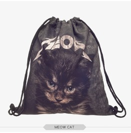 Cat Printed Drawstring Bag Unisex