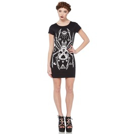 Jawbreaker Mini Dress Giant Spider Skull Occult Cut Out Back