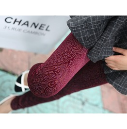 Maroon Faux Carved Leggings Design 468