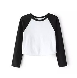 Grunge Cropped Raglan T Shirt Top Long Sleeve Basic Baseball