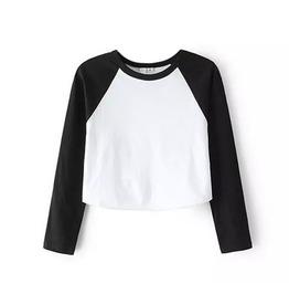 Grunge Cropped Raglan T Shirt Top Long Sleeve Basic Baseball