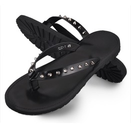 Black Flip Flops With Spikes