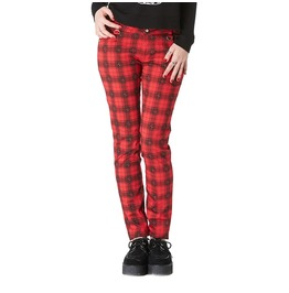 Ladies Red Tartan Jeans Trousers Skinny Punk Skulls