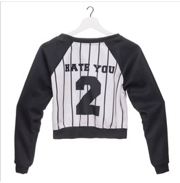 Hate You Printed Long Slevee Punk Rock Women's