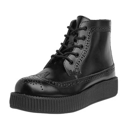 Unisex Black Wingtip Creeper Combat Boots Thick Sole Shoes Free Us Shipping