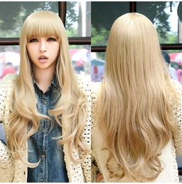 Long Curled Scene Wig Kankelon Synthetic With Bangs