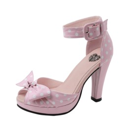 Tuk Pink White Polkadot Pin Up Bow Ankle Strap Vegan Heels Free Us Shipping