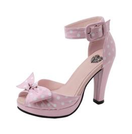 Tuk Pink White Polkadot Pin Up Bow Ankle Strap Vegan Heels Free Us Shipping
