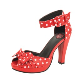 Red White Polkadot Pin Up Bow Ankle Strap Vegan Heels Free Shipping Us