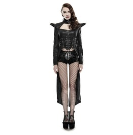 Gothic Steampunk Rock Vampire Military Leather Look Black Coat Jacket