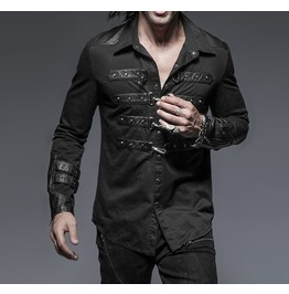 Gothic Rock Metal Steampunk Black Long Sleeve Shirt Top
