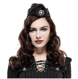 Military Army Officer Sky Captain Costume Steampunk Black Cap Hat