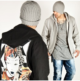 Unique Kabuki Printing Accent Casual Zip Up Hoodie 89